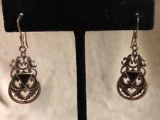 Beautiful 925 Dangle Hanging Pierced Medallion W/Black Onyx Earrings