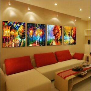 Modern Abstract 100% hand-painted Art Oil Painting Wall Decor canvas 4pc