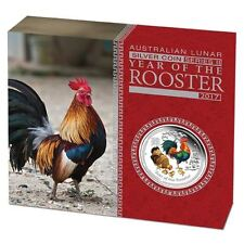 Lunar II Hahn Rooster PROOF colour 2017 polierte Platte 1Oz  farbig PP Silber