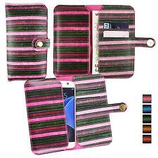 Vintage Rayas Funda de piel sintética FUNDA SOPORTE PARA Panasonic Teléfono