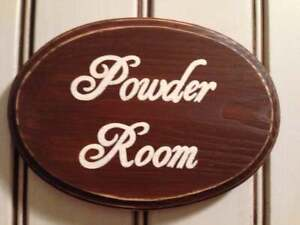 POWDER ROOM OvAL Farmhouse Chic Sign Bath Plaque U Pick Color Wood Bathroom WC