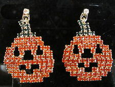 HALLOWEEN AUTUMN PUMPKIN JACK-O-LATERN EARRINGS PIERCED