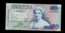 NEW ZEALAND  10 DOLLARS ( 1992 ) AC LOW # 000806  PICK # 178a  UNC.