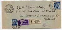 STORIA POSTALE 1949 REPUBBLICA 3 VALORI SU RACCOMANDATA CATANIA 15/10 D/8751