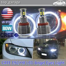 2x 80W H8 Xenon White 6000k Angel Eyes Halo Ring Error Free LED For BMW E90 E92