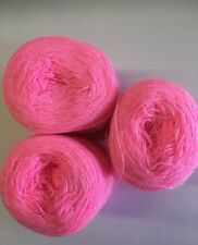 Lace yarn Crystal Color 144 Rosa.Acrylic /Rayon. 900 yards Each.1 lot of 3.
