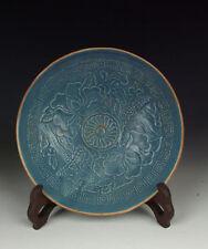 Nice Chinese Antique Ding Ware Blue glazed Porcelain Bowl Flower