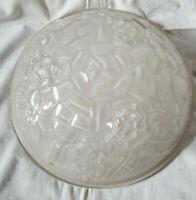 Vasque verre moulé épais signé Degué art-déco décor fleur Abat-jour Daum Muller