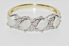 9CT YELLOW GOLD & SILVER OPAL & DIAMOND LADIES ETERNITY RING - size R