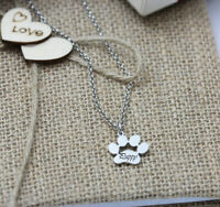 Personalised Paw Print Name Necklace with Engraving Pet Cat or Dog Loss Gift