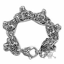 "Ship from US Rocker Biker Tiger Silver Men Stainless Steel Bracelet Chain 8.5"""