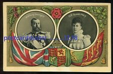 *2219 - BRITISH ROYALTY 1910s King George V & Queen Mary. Patriotic Flags
