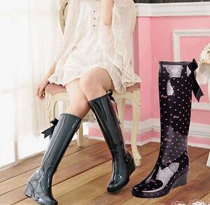 Womens MId Wedge Heels Knee High Rainboots Skid Waterproof Zip Bowknot Fashion