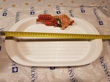 Vassoio ceramica con griglia scola grasso grigliate carne KASANOVA bianco 40x22