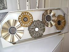 METAL METALLIC FRAMED SET OF 5 GOLD MIRRORED FLORAL FLOWER DECORATIVE WALL ART