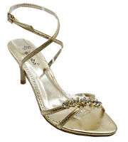 WOMENS GOLD WEDDING STRAPPY PROM BRIDESMAID DIAMANTE SANDALS SHOES SIZES 3-8