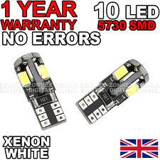 2 X Xenon Bianco 5 Smd 501 W5W T10 CANBUS ERRORE FREE LUCE Laterale LED Lampadine 6000k