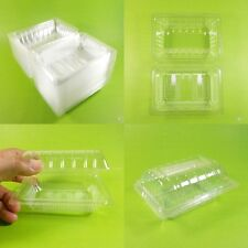 "100 x Transparent Food Container Plastic Disposable Box Packaging Bakery 4""x3"""