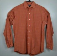 Polo Ralph Lauren Long Sleeve Oxford Shirt Plaid Mens Sz M Orange Blue White EUC