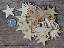 50 qty Small 1-3/4  inch Star Wood Embellishments Crafts Flag Wooden Decor DIY