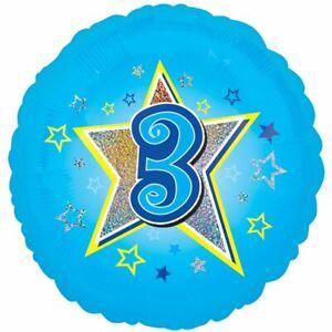 Age Three Blue Foil Balloon 18''