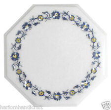 """24""""x24"""" Marble Coffee Side Table Top Lapis Gemstone Mosaic Inlay Furniture H1810"""