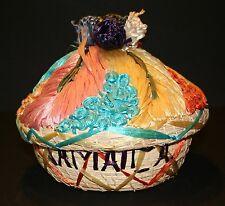 VTG Jamaican Wicker Raffia Basket Fruit Basket Jewelry Box BEAUTIFUL! RARE!!