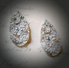 10 Druzy Quartz Cabochons Faux Drusy Silver Teardrop Flat Back Findings Sparkly
