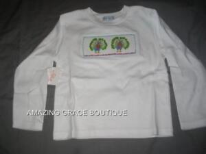 Girls Smocked LS Tee T-shirt 3T PEACOCKS NWT Vive La Fete NEW Long Sleeve NEW