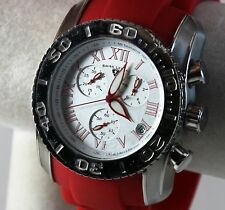 Swiss Legend Commander Men's Watch, Silver Dial on SS w/ Bold Red Silicone Strap