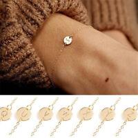 Personalized Simple Tiny Initial Bracelets Dainty Gold Silver Letter Bracelet~