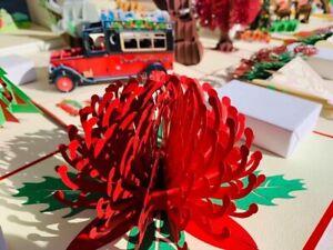 Australia Wild Flower Red Waratah 3D Pop Up Greeting Card Handmade Birthday Love