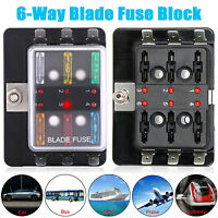 6Way Blade Fuse Block Box Holder Overload protection For Car Boat Marine Auto M