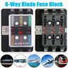 6Way Blade Fuse Block Box Holder For Car Boat Marine Auto Overload protection