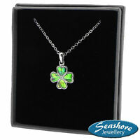 Four Leaf Clover Necklace Abalone Shell Pendant Silver Fashion Jewellery 18""