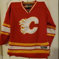 Calgary Flames NHL Hockey SEWN Jersey Reebok Youth L/XL Boys Red EUC