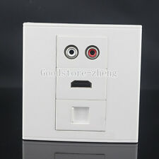 Wall Face Plate RCA  AV + HDMI  + RJ45  Cat6 LAN Assorted Panel Faceplate Outlet