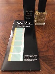 Avon Nail Art, Poolside & Sparkling Gold Glitter Nail Enamel