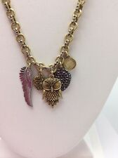 $39 Lucky Brand Two Tone Hoot Couture Charm Owl Necklace #L21