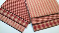 Primitive Red Christmas Plaid Stripe Ticking Rag Quilt Homespun Fabric Scraps