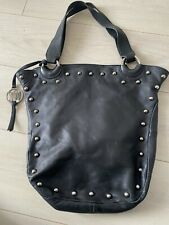 RUSSELL AND BROMLEY BAG SOFT LEATHER BLACK SILVER STUDS STUART WEITZMAN BOHO
