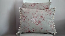 Handmade cushion cover French Linen Look Vintage Pink Roses chic pompom trim.