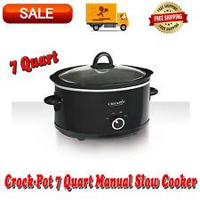 Crock-Pot 7 Quart Manual Slow Cooker Black, Dishwasher-Safe, Stoneware and Lid