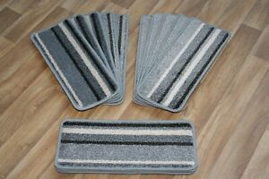 14 Striped Open Plan Carpet Stair Treads Funky Silver 036 14 Large Pads!