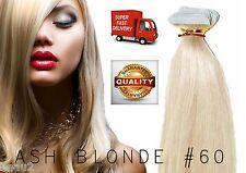 "20"" European TAPE Human Hair Extensions Weft  62GM (20 Pcs) Ash Blonde # 60"