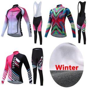 Women Female Winter Thermal Fleece Cycling Jersey Sets Mountain Bike