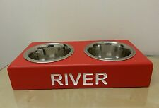 WOODEN SMALL DOG BOWL PERSONALISED FEEDING STATION ELEVATED STAND RAISED BOWLS