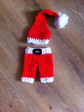 Hand Crochet/Tejido Navidad Traje De Santa Sombrero Y Pantalón Set/Foto Prop 0-3
