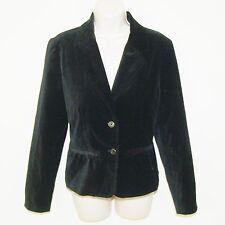 Women's Black Velvet Blazer Size Medium By Fieldgear Buttons in Front Jacket