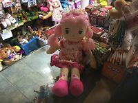 "LARGE 20"" DREAM CREATIONS  RAGDOLL SOFT TOY DOLL IN PINK FLORAL DRESS NEW TAGS"